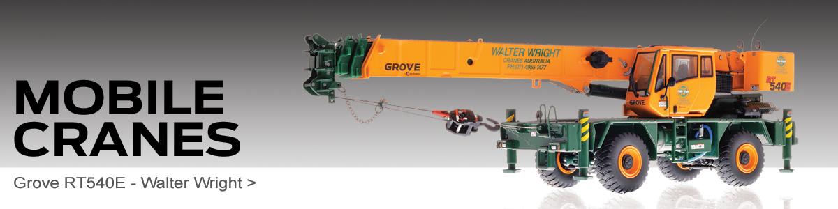 Shop Diecast Mobile Cranes scale model replicas including the Grove RT540E Walter Wright!